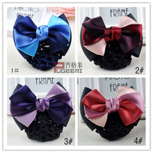 купить Korea professional ladies flower hair accessories to clip hair net bow tie bow tie hotel stewardess tiara  wedding tiara онлайн