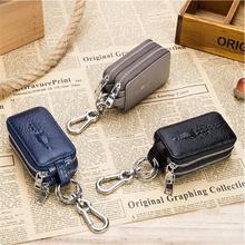 Skórzany męski portfel na klucze męski torba na klucze samochodowe brelok na klucze wzór krokodyla etui na klucze Organizer małe portfele tanie tanio CN (pochodzenie) Skórzane Key Wallets piece