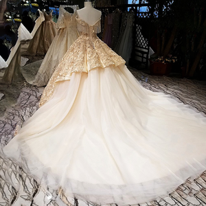 Image 3 - LS65411 1 큰 스커트 신부 가운 민소매 황금 샴페인 컬러 이브닝 드레스와 레이스 tain 중국 온라인 가게에서 직접 구매