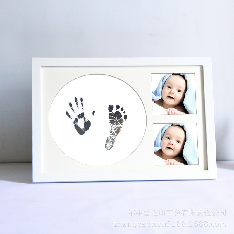 White Baby Ink-Pad Footprint Photo Kit Non-Toxic Material Safe Wooden Frame Room Desk Decor Child Souvenir Happy Family Memory