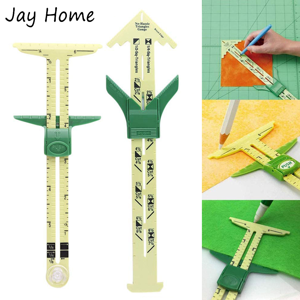 1Pc 5-in-1 Sliding Gauge Measuring Ruler Sewing Tool Plastic T Gauge Fabric Quilting Ruler for DIY Sewing Knitting Crafting