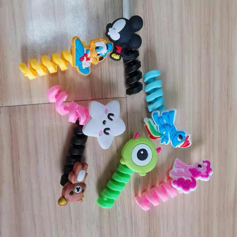 Cartoon Spiraal Buis Kabel Protector Winder Draad Organisator Cord holder cable saver Protetor voor iPhone samsung xiaomi Kabel