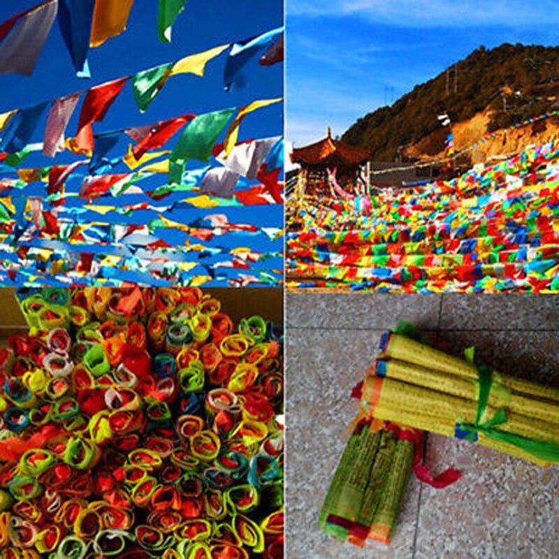 27x15cm 1 Set 20pcs Tibetan Buddhist Prayer Flags 5 Different Colors Fabric Craft Polyester Tibet Style Decorative Flag
