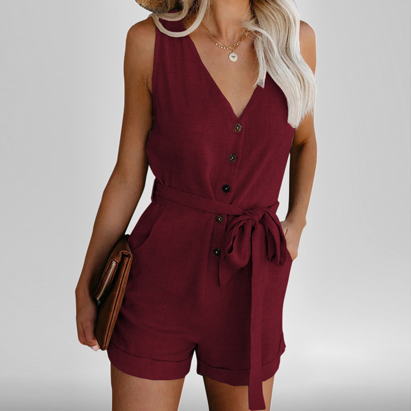 Women Summer Clothes Off Shoulder Belted Tunic Sleeveles Playsuit Solid Casual V neck Short Home Jumpsuit 2020 Dropshipping