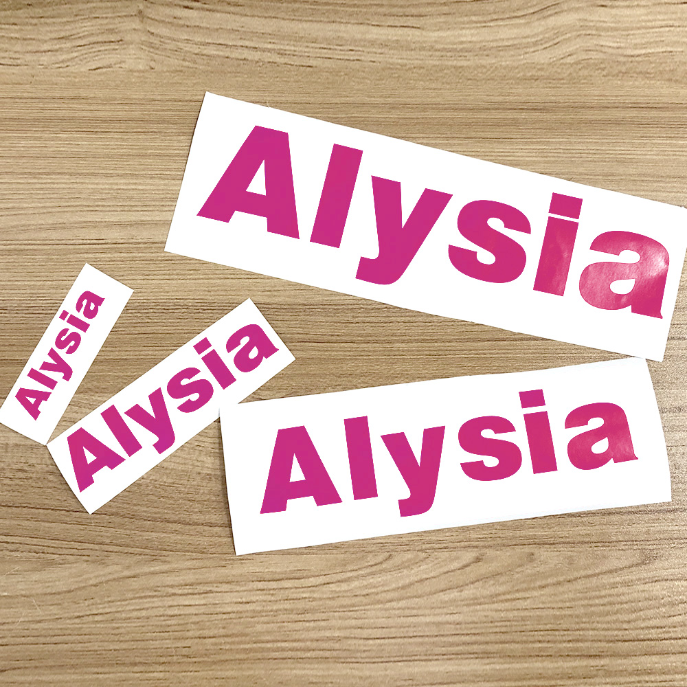 1Pcs Rose Red Color Vinyl Custom Name Stickers PVC Die Cut Name Label Waterproof Tags For Water Bottle Lanch Box Personal Craft