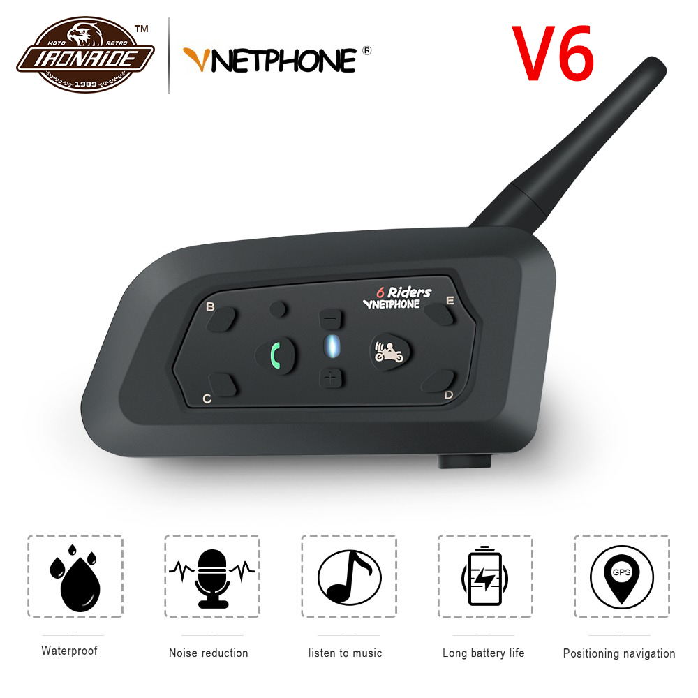 VNETPHONE 1200M Motorcycle Intercom Helmet Bluetooth Intercom Waterproof Interphone Headset Wireless Moto Headset For 6 Rider