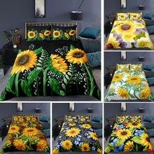 3d sunflowers padrão colcha capa dos desenhos animados crianças conjunto de cama floral/pôr do sol colcha rainha tamanho do rei linho 2/3 pçs