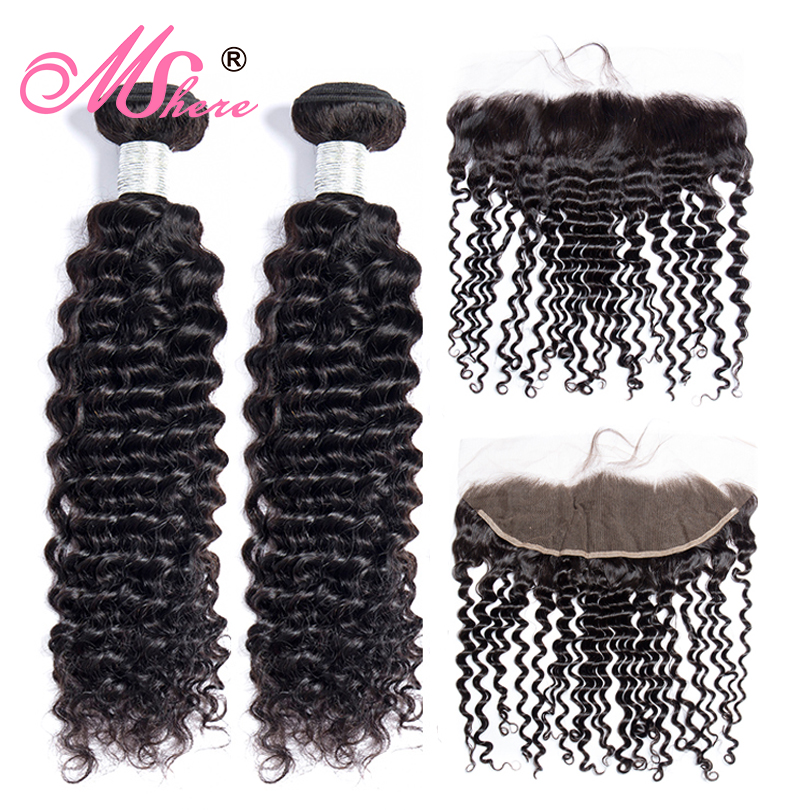 Mshere Hair Indian Curly Hair Lace Frontal Closure With Bundles Pre Plucked Lace Frontal With Human Hair Bundles With Closure