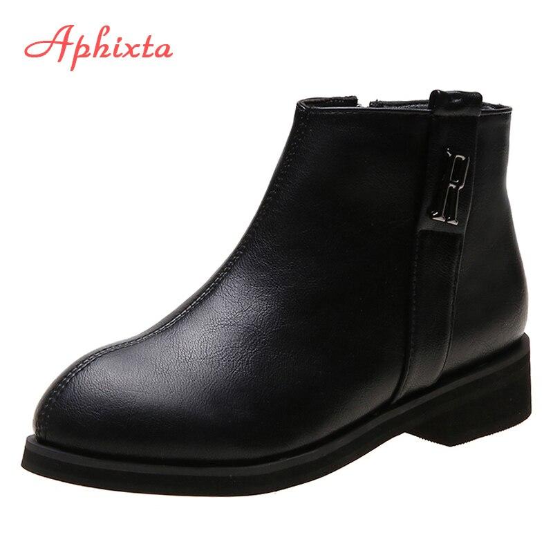 Ботильоны Aphixta женские на квадратном каблуке, обувь на молнии, зимние ботинки на платформе, большой размер 44