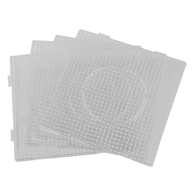 SOTOGO 22 Pieces 5mm Fuse Beads Pegboards Clear Plastic Boards with 22 Pieces Colorful Cards,2 Pieces White Beads Tweezers,5 Keychains,10 Hang Circle for Kids DIY Craft Beads