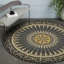 Alfombra retro americana color oro negro estilo nacional bohemio alfombra de piso redondo de felpa antideslizante alfombra de la puerta de la sala de estar alfombra de dormitorio