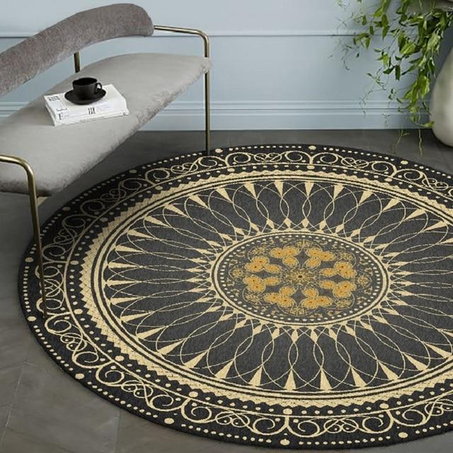 Black gold color American retro carpet Bohemian national style round floor mat plush non slip living room door mat bedroom rug
