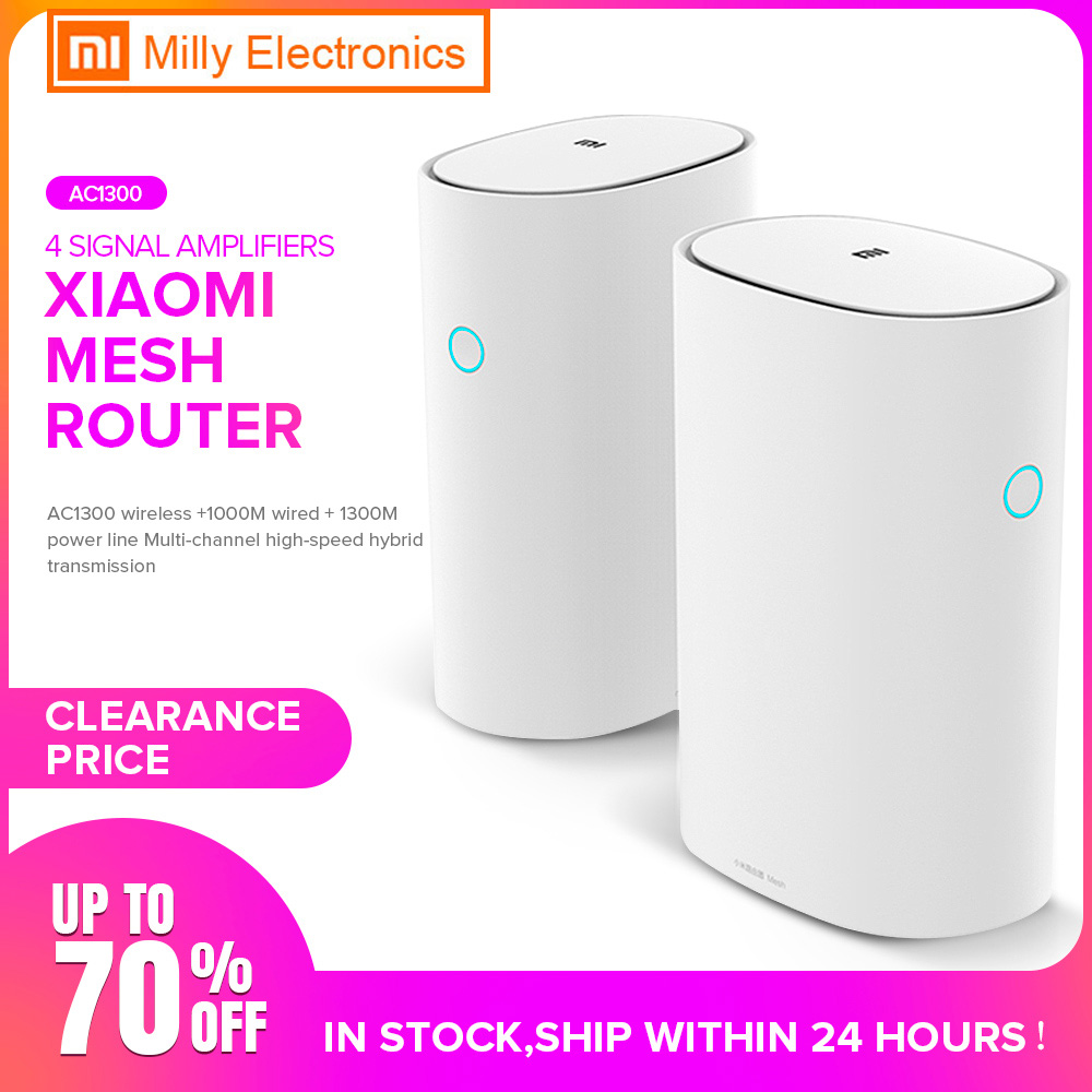 2PCS Xiaomi Mi Router Mesh WiFi 2.4+5GHz WiFi Router High Speed 4 Core CPU 256MB Gigabit Power 4Signal Amplifiers For Smart Home