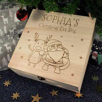 Christmas Eve Gift Box Wooden Engraved Snowman Santa Claus And Elk Apples Casket Jewelry Case Childrens Gifts Decoration Box