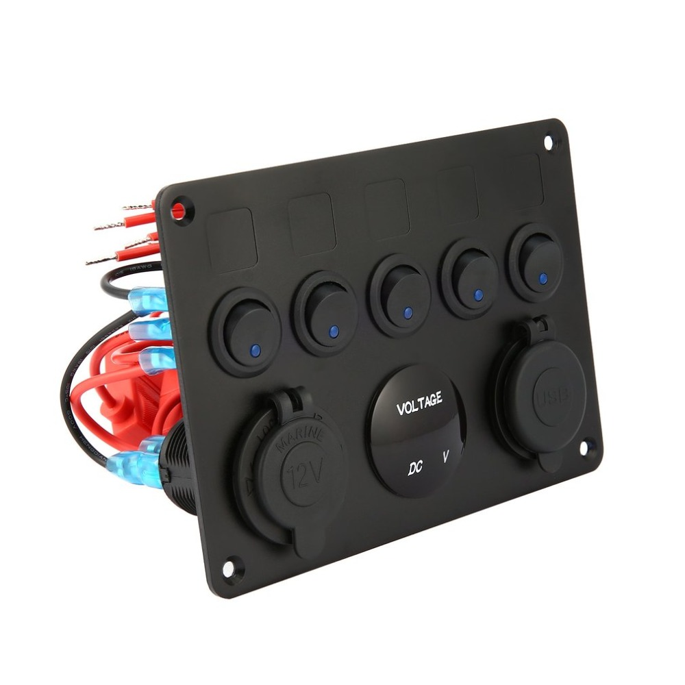12V 24V 5 Gang Car ON-OFF Toggle Switch Panel 2USB LED Circuit Breaker Voltmeter
