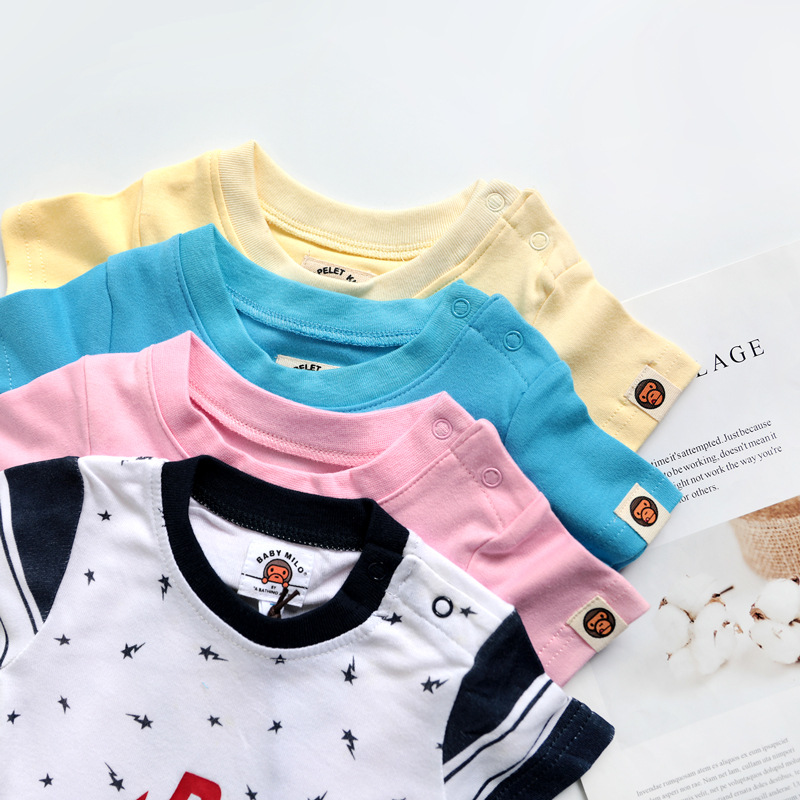 Infants Cotton Knitted Fabric Summer Short Sleeve Onesie Baby Triangular Baby Bodysuit Crawling Clothes Romper BAPE