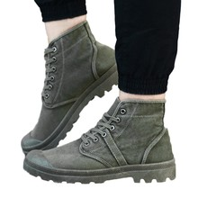 Мужские парусиновые ботинки, высокие ботильоны, удобная повседневная обувь на толстой подошве, на шнуровке