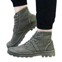 Zapatos de lona para hombre, botas altas de lona, informales, cómodas, con cordones