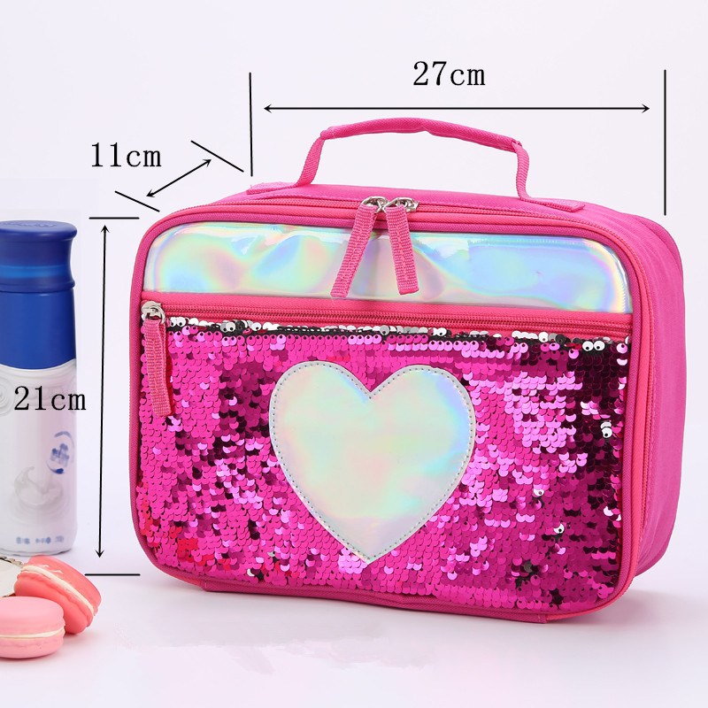 UK Kids Adults Reversible Sequin Insulated Cool Bag School Lunch Box Picnic Bags