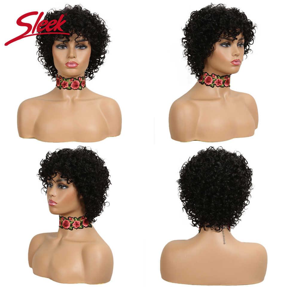 Sleek Korte Menselijk Haar Pruiken 100% Remy Braziliaanse Krullend Menselijk Haar Pruik 10 Inch Water Wave Pruik TT1B/30 ombre Pruiken Voor Zwarte Vrouwen