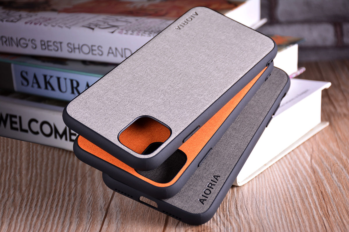 Luxury Textile Leather Skin Soft TPU hard PC Phone Cover for iPhone 11 pro max 7