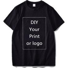 100% Katoen Aangepast Print T Shirt Vrouwen/Mannen Diy Uw Als Foto Of Logo Wit Tees Shirts T-shirt Fashion mannen Custom Tshirt