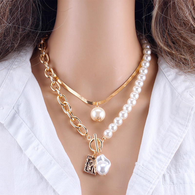 Fashion Chain Pearl Necklace For Women Baroque Pearl Metal Charm Pendants Necklaces Choker Snake Chain Jewelry Gold Silver Color