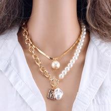 ファッションチェーン真珠のネックレスバロック真珠メタルチャームペンダントネックレスチョーカースネークチェーンネックレスジュエリーゴールドシルバー