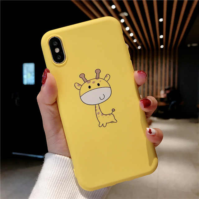 Ottwn Cartoon Dier Grappig Patroon Telefoon Case Voor Iphone 11 Pro Xr Xs Max X 7 8 6 6 S plus 5 5 S Se Vinger Giraffe Soft Cover