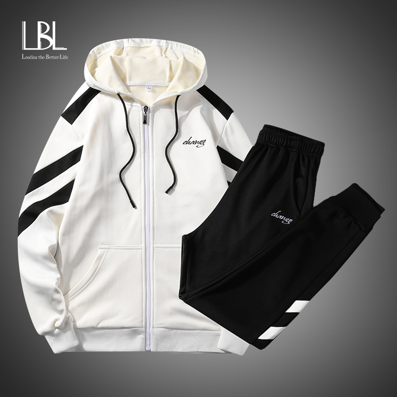 Bomber Jacket Men Outwear Streetwear Hip Hop Zipper Jacket Hooded Thin Windbreaker Jackets Fashion Patchwork Clothes Suit Set