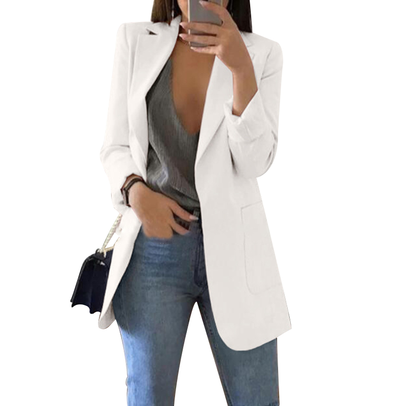 Women Coat Slim Up Seven-Quarter Sleeve Business Blazer Suit Casual Long Female Jacket For Office Pocket Outwear Blazer Feminino