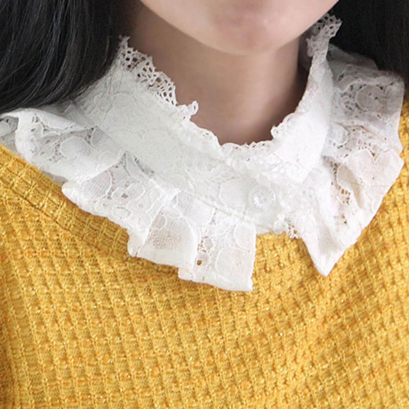 Women Girls Layered Ruffles False Fake Stand Collar Full Crochet Floral Lace Shawl Detachable Button Down Half-Shirts Blouse