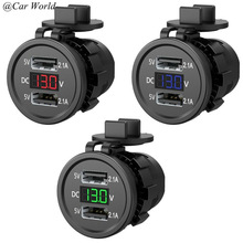 5V 2.1A Waterproof Dual Ports USB Charger Socket Adapter Power Outlet with Voltage Display Voltmeter for 12-24V Car Boat Motorcy