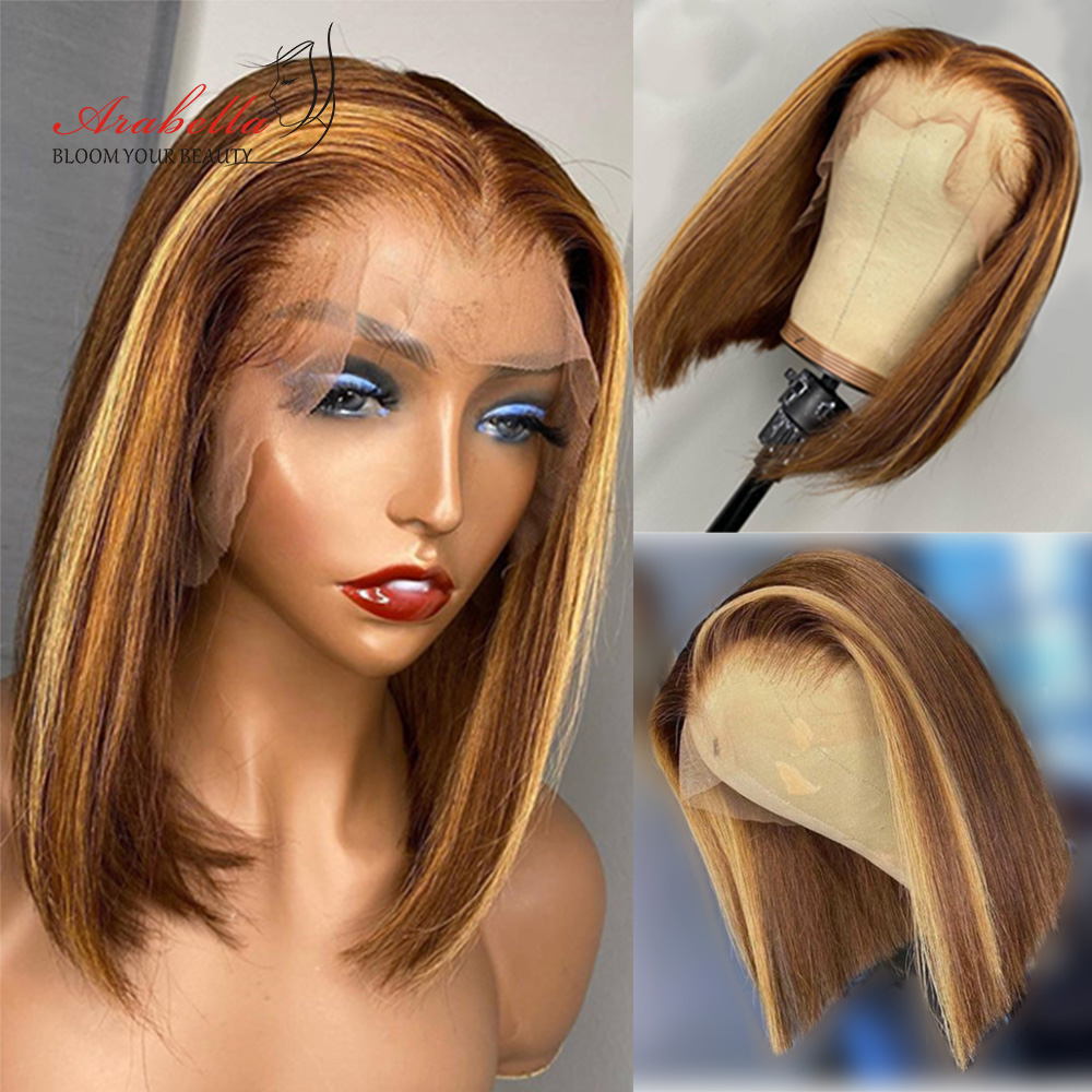 Highlight Bob Ombre Brown Honey Blonde Lace Front Wig  Hair PrePlucked Bob Wig 100%  Arabella Straight Closure Wig 2