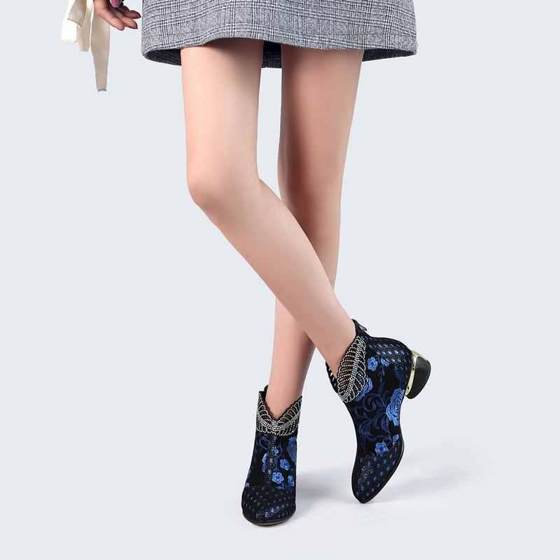 Morazora 2020 Mới Mắt Cá Chân Giày Bốt Nữ Da Thật Da Giày Thêu Dân Tộc Bohemia Dây Kéo Mùa Xuân, Mùa Thu Giày