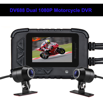 "Blueskysea DV688 Motorcycle Dash Camera Waterproof 2.4"" 130° Dash Cam HD 1080P Moto GPS Dual DVR Camera Moto Mini DVRs Dashcam"