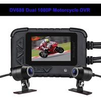 Blueskysea DV688 Motorcycle Dash Camera Waterproof 2.4 130° Dash Cam HD 1080P Moto GPS Dual DVR Camera Moto Mini DVRs Dashcam