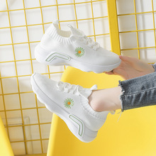 2020 Breathable Women Sneakers Shoes Mesh air Casual Socks Shoes low cut daisy print Woman Sports Running  Shoe 4h72