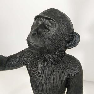 Image 5 - Wongshi現代黒猿麻ロープペンダントライトファッションシンプルなアート北欧レプリカ樹脂selettiぶら下げ猿ランプ