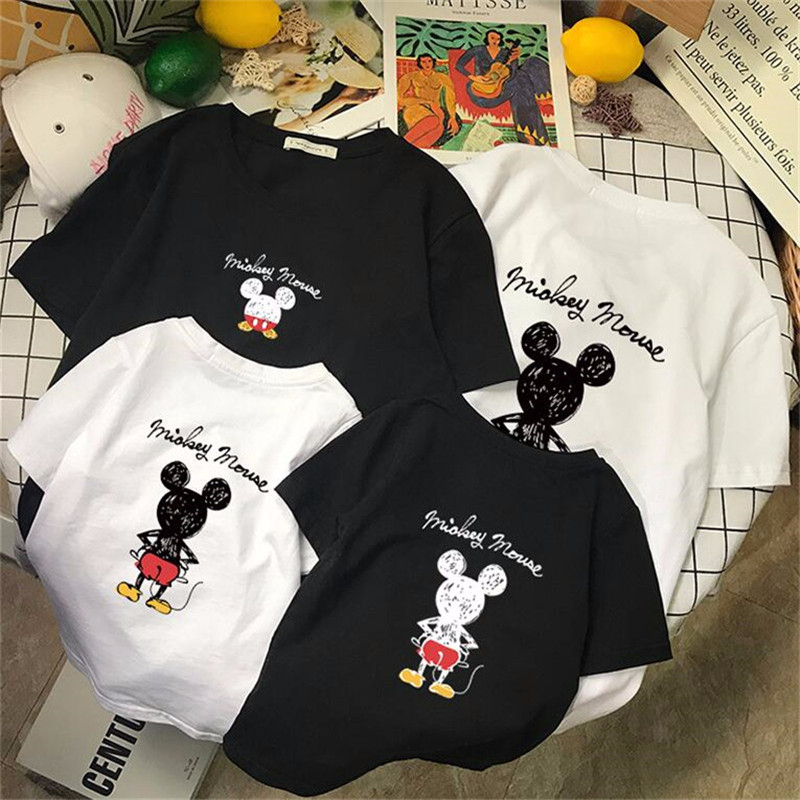 Dad And Me T-shirt Summer Mother And Daughter Clothes Girls Boys Mickey Cartoon Print Cotton Tops For Family Matching Clothes