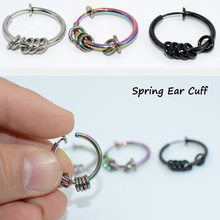 1 Pair Punk Mens/Womens Fake Lip Nose Ring Hoop Stealth Clip On Earrings NO Hole Clip Earrings Ear Cuff Spring Clip Helix Ring pair of punk rivet studded hoop earrings