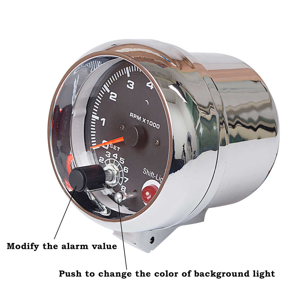 Dragon Gauge 95mm 3.75 Inch Tachometer Chrome for 7 LED Colors Adjustable  12V Car Gauge 3 3/4