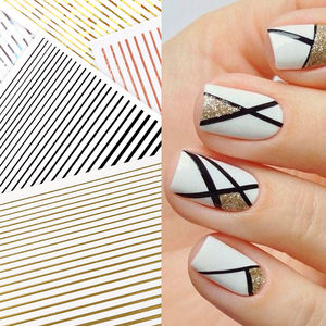 1 Pc Nail Strip Stickers Black Gold Rose Gold Silver Metal Strip Tape Nail Art Adhesive DIY Foil Tips Nail Sticker Decals