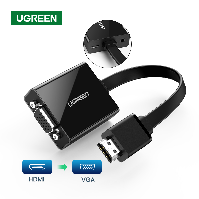 Ugreen HDMI To VGA Adapter For PS4 Male To Famale Converter 1080P VGA To HDMI Adapter With 3.5 Jack For TV Box PC VGA  To HDMI