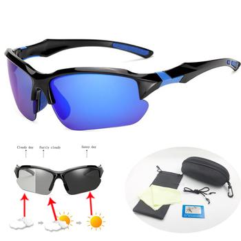 Fotochromowe okulary rowerowe UV400 spolaryzowane okulary rowerowe okulary przeciwsłoneczne MTB Road okulary rowerowe mężczyźni kobiety okulary rowerowe tanie i dobre opinie WZHPSWGS 43mm 65mm Poliwęglan Unisex Jazda na rowerze