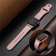 Pembe renk kadın deri saat kayışı kayışı Apple saat bandı saat kayışı 38mm 40mm , VIOTOO için hakiki deri WatchBand iwatch askı