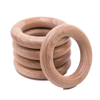 10pcs Baby Beech Wooden Teething Rings Baby Teether Bpa Free Round Beech Ring Accessories For DIY Baby Necklace Bracelet Making фото