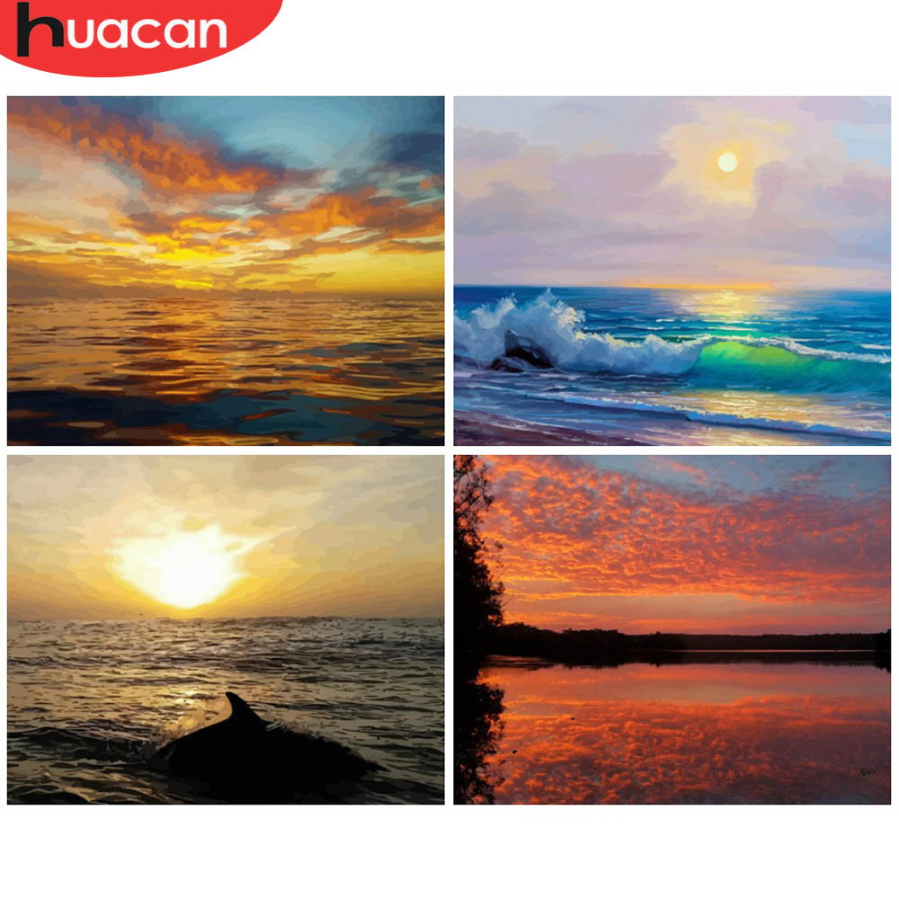 HUACAN Paint By Numbers Sunset Landscapes Acrylic Drawing Canvas Oil Painting Sea Full Set For Adults Home Decoration Gift
