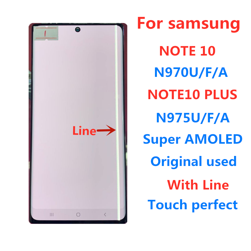 Original Super AMOLED For Samsung note10 n970 note10plus n975 note10+ lcd with line screen assembly display touch screen фото