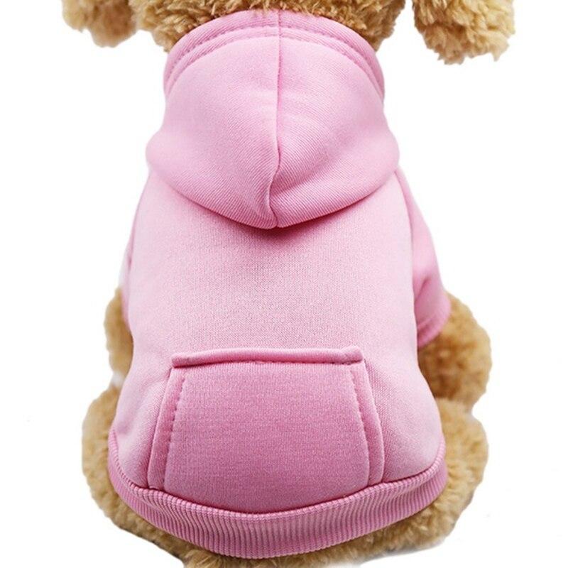 Одноцветная Толстовка для домашних животных с шапкой, осенне-зимняя одежда для собак, джемпер для питомцев, толстовки для собак, толстовка, продукт для домашних животных - Цвет: pink